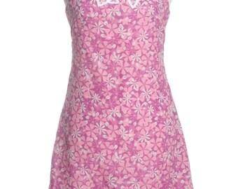 Vintage Re Worked 1970's Pink Floral Shift Dress 8 - www.brickvintage.com