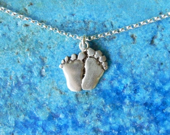 Sterling silver baby foot print pendant necklace new mom gift shower gift little feet new baby