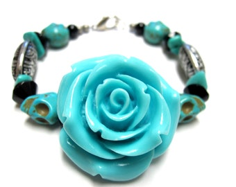 Day Of The Dead Bracelet Sugar Skull Jewelry Rose Blue Silver Black