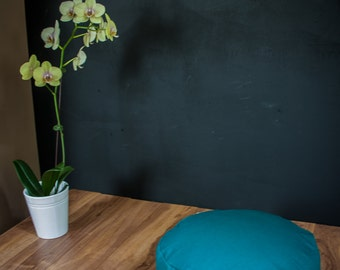 Meditation cushion Pouf zafu Teal Plain cotton organic Buckwheat pouf with handle - handmade by Creations Mariposa