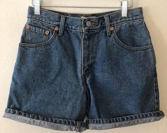 "Vintage 90s Levis 550s Denim Shorts, High Waisted Denim Shorts  Size 8 30"" Waist"