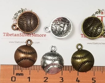 18 pcs per pack 14mm one side Softball Charm Antique Silver, Copper or Bronze Lead free Pewter.