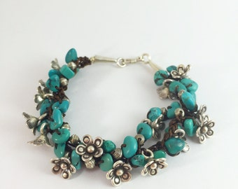 Sterling silver and turquoise jewelry bracelet