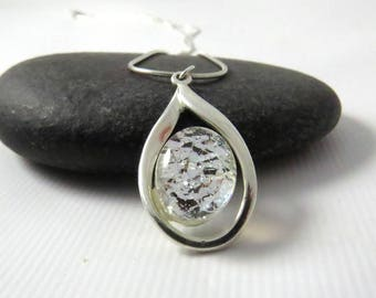 Petite Teardrop Silver and Glass Necklace - Silver Frost - Fused Glass Necklace