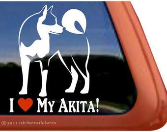 I Love My Akita | DC305HEA | High Quality Adhesive Vinyl Window Decal Sticker