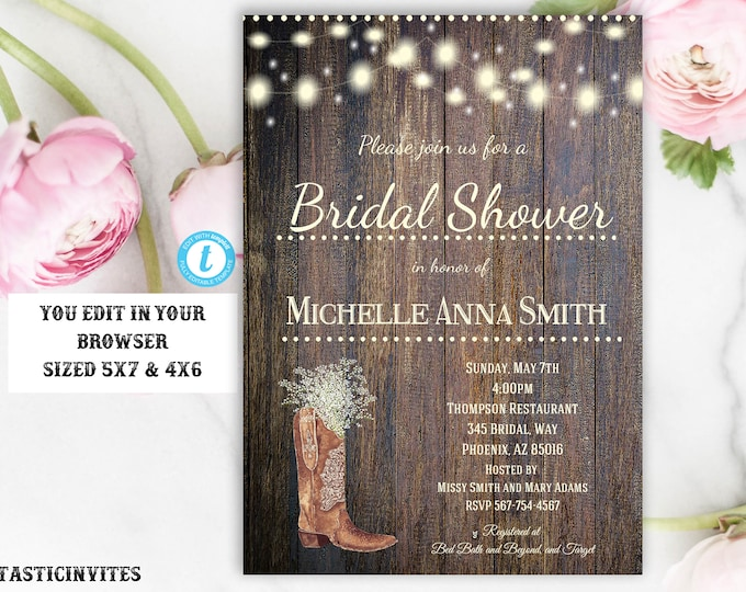Rustic Country Vinate Boot Babies Breath Bridal Shower Invitation Template, Printable Rustic Bridal Shower Template, Instant Download, DIY