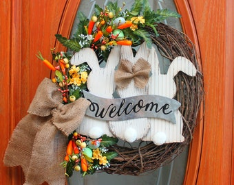 Easter Grapevine Wreath with Three Bunnies. Welcome Wreath with Burlap Bow. Rustic Wreath. Spring Wreath.