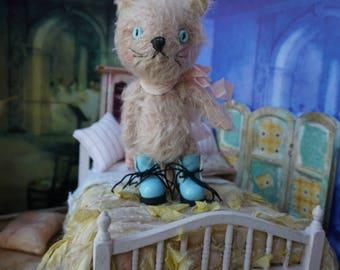 """OOAK Artist Teddy Cat - JORGE' - 4.5"""" Tall Mohair Collectible Teddy Bear Kitty"""