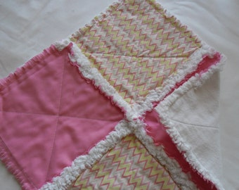 Pink and Chevron Multi color Lovey Rag Quilt /Buddy/Security Blanket/Small Rag Quilt for Baby/Toddler Lovey