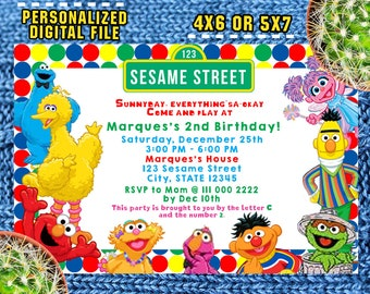 Sesame Street Invitations/Sesame Street Birthday/Sesame Street Party/Sesame Street Invite/Sesame Street Printable/Sesame Street Card/F0078
