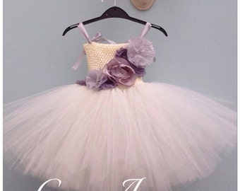 Ivory tulle Flower Girl Dress, Vintage Inspired, shabby chic flowers - any age/colour, Tutu Dress, Wedding, Bridesmaid