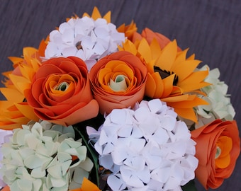 Paper Bridal or Bridesmaid Bouquet - Sunflowers, Spring Green Hydrangea, Orange Ranunulus