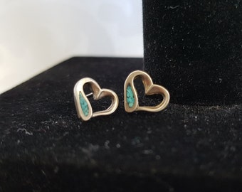 Sterling Silver and Turquoise Heart Earrings, Heart Earrings, Sterling Heart Earrings, Earrings