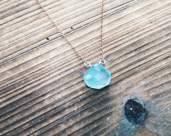 Small Chrysoprase Quartz Necklace Rose Gold Stacking Necklace Layering Gemstone Jewelry Handmade in Indiana Something Blue Rose Gold Chain