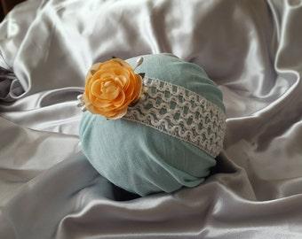 White and Peach Flower- Baby Wide Elastic headband