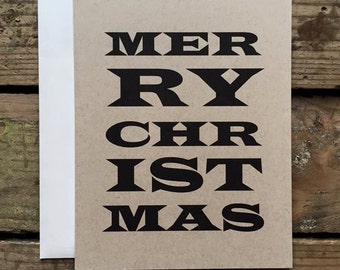 Rustic Merry Christmas Typography Cards / Christmas Cards / Country Christmas Holiday Cards / Greeting Cards