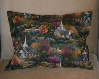Travel Pillow Case / Accent Pillow Case of THOMAS KINKADE Scenic CHURCH Fall Setting / Faith / Religious