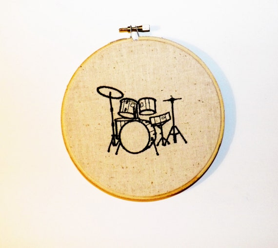 Embroidered Drum Kit Wall Hoop Art Black on Sand Colored