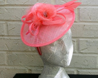 Peach and Coral Fascinator, Disc Fashion Hat for Church, Derby, or Mother's Day