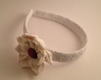 White Ladybug Lace Hairband