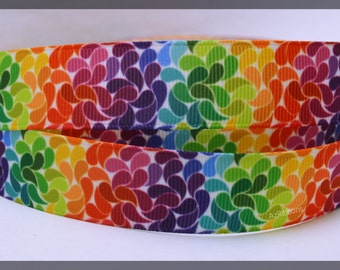 """Rainbow Splashes Mosiac Colorful Artistic Swirls Printed Grosgrain Ribbon 7/8 """" Wide Scrapbooking HairBows Parties DIY Projects az245"""