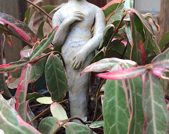 Garden goddess statue, earth mother nature nymph, container garden devi art, handcrafted, OOAK statue