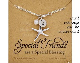 Starfish bridesmaid bracelet,initial Bracelet,hand stamped monogram,custom font,ocean beach wedding,wedding bridal gift,custom jewelry card