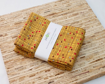 Large Cloth Napkins - Set of 4 - (N1786) - Crosshatch Mustard Modern Reusable Fabric Napkins
