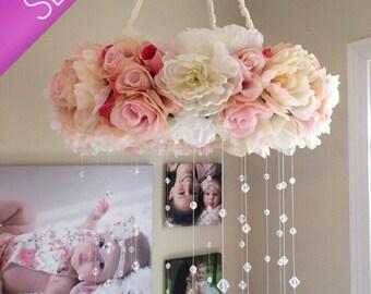Floral Mobile/Nursery Mobile/Vintage Rose Wreath/Crib Mobile/Flower Baby Mobile/Girls Mobile/Pink Mobile/Rose Mobile
