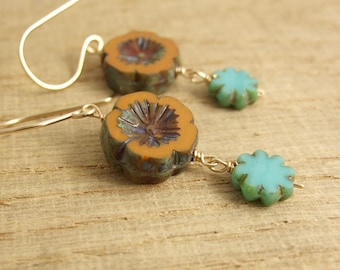 Earrings with Orange, Czech Glass Flower Beads and Blue, Czech Glass Flower Beads Wire Wrapped with Gold Filled Wire GHE-26