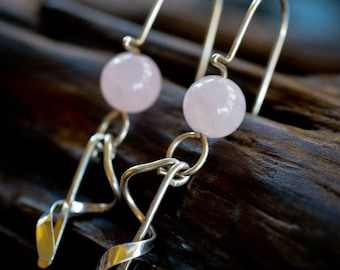 Spiral Dangle Earrings in Sterling Silver and Rose Quartz