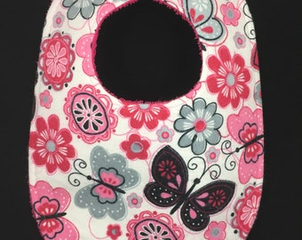 Flowers and Butterflies Flannel / Terry Cloth Bib