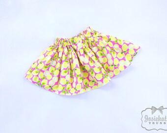 Pink Lemon Party Skirt - Girl Twirl Skirt - Infant Lemonade Skirt - Tween Lemon Yellow Party Skirt - Toddler Lemon Fruit Party 6m to Girl 16