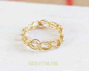 K14gf 鎖編みリング*ゴールドフィルド