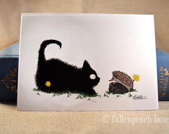 Black Cat and Hedgehog Greeting Card - Sammy and Sebastian Illustration