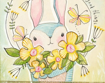 Cute Easter Bunny with Flowers and Butterfly, Art Print 8 x 10 watercolor illustration Seasonal Spring Decor, Cori Dantini
