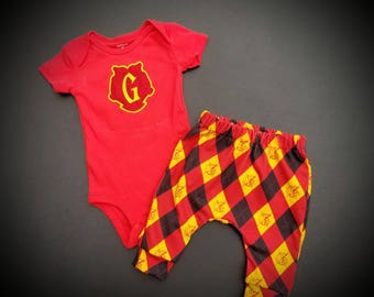 Harry Potter Inspired Gryffindor Creeper and Pants Set