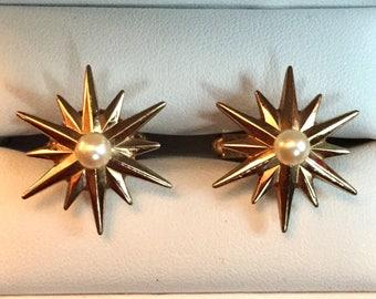 Stunning Vintage 10K Gold Filled and Pearl Deco Modern Sunburst Cufflinks