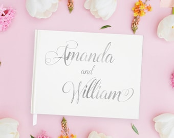 Silver Guest Book Wedding Personalized, Silver Wedding Guest Book Custom Wedding Guestbook, Wedding Guest Book Silver Foil, 15 COLORS