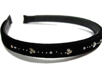 Black - velvet thin headband