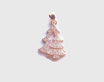 1 Cubic Zirconia (CZ) Christmas tree Pendant, Jewelry Making Supply, Rose Gold Color Brass, clear CZ Pave Set with Bail