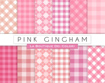 Pink Gingham Table Cloth Digital Paper Pack Instant Download For Personal  And Commercial Use