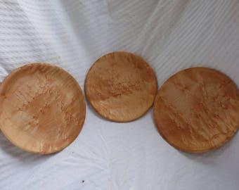 Wood Turned Birds Eye Maple Plate (set of 3)