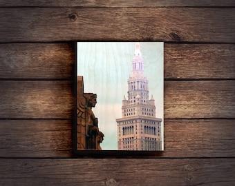 Cleveland Wood Print - Terminal Tower & Guardian - 8x10in Handmade Wood Print