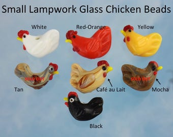 Small lampwork glass chicken beads- black, white, tan, yellow, orange- you choose colors + quantity- jewelry & craft supplies- rooster