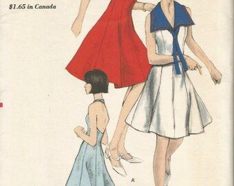 1960s Halter Dress Sundress Sailor Collar Middy Collar Princess Seams Easy to Sew Vogue 6523 Uncut FF Bust 34 Womens Vintage Sewing Pattern