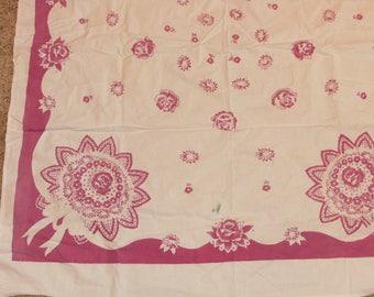 Vintage Plum colored Tablecloth