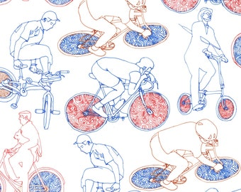 Bicycle Riders Art Print - Digital Illustration Biking, Red White & Blue
