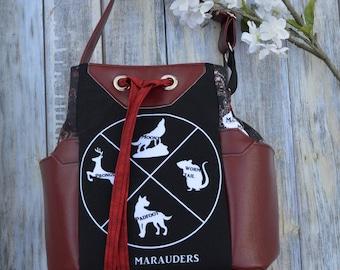 Mauraders Map Drawstring Crossbody Purse, Bucket Bag, Large Purse, Large drawstring Bag, Marauders Map, Harry Potter purse, Hogwarts bag