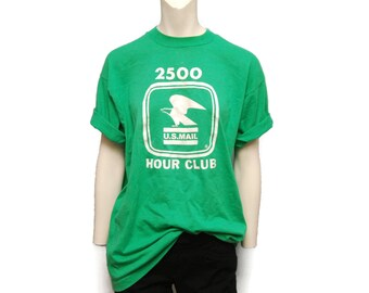 """Vintage U.S.P.S. Mail Carrier T-Shirt Mailman """"2500 Hour Club"""" Green Postal Service Post Office Size XL US Mail Tee Shirt Bald Eagle Tshirt"""